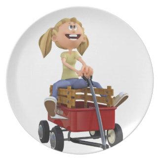 Cartoon Girl in Wagon Dinner Plate