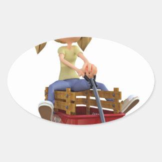 Cartoon Girl in Wagon Oval Sticker