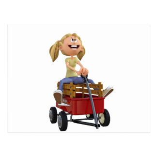 Cartoon Girl in Wagon Postcard