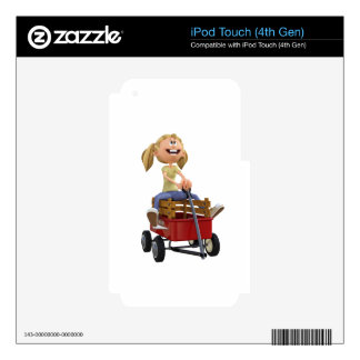 Cartoon Girl in Wagon Skin For iPod Touch 4G