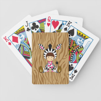 Cartoon Girl in Zebra Costume Bicycle Playing Cards