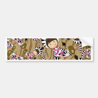 Cartoon Girl in Zebra Costume Bumper Sticker