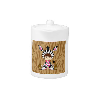Cartoon Girl in Zebra Costume Teapot