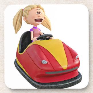 Cartoon Girl n a Bumper Car Drink Coaster