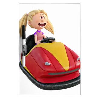 Cartoon Girl n a Bumper Car Dry Erase Board