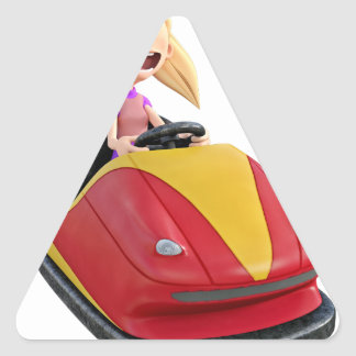 Cartoon Girl n a Bumper Car Triangle Sticker