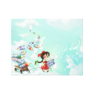 cartoon girl of fancy land Stretched Canvas Print