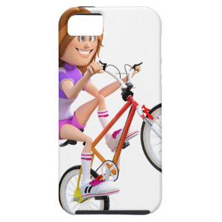 Cartoon Girl on Bike Doing A Wheelie iPhone SE/5/5s Case