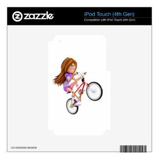 Cartoon Girl on Bike Doing A Wheelie iPod Touch 4G Decal