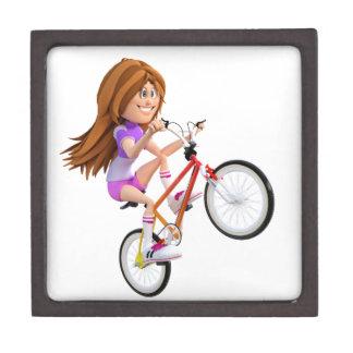 Cartoon Girl on Bike Doing A Wheelie Keepsake Box