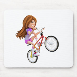 Cartoon Girl on Bike Doing A Wheelie Mouse Pad