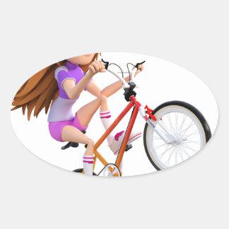 Cartoon Girl on Bike Doing A Wheelie Oval Sticker