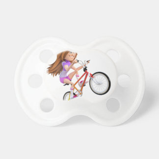 Cartoon Girl on Bike Doing A Wheelie Pacifier