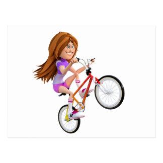 Cartoon Girl on Bike Doing A Wheelie Postcard