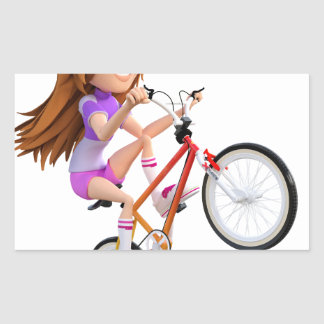 Cartoon Girl on Bike Doing A Wheelie Rectangular Sticker