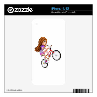 Cartoon Girl on Bike Doing A Wheelie Skins For The iPhone 4
