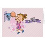 Cartoon Girl Playing Basketball Birthday Card