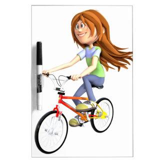 Cartoon Girl Riding A Bike Dry-Erase Board