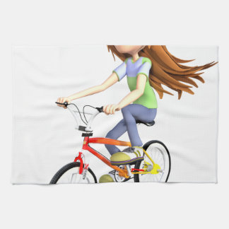 Cartoon Girl Riding A Bike Kitchen Towel