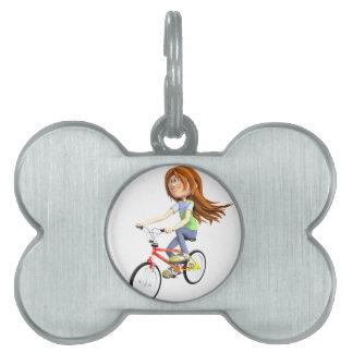 Cartoon Girl Riding A Bike Pet Name Tag