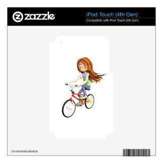 Cartoon Girl Riding A Bike Skin For iPod Touch 4G