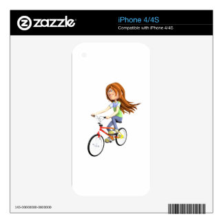 Cartoon Girl Riding A Bike Skins For The iPhone 4S