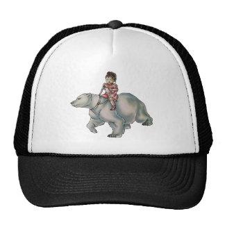 Cartoon Girl Riding Polar Bear Drawing Trucker Hat
