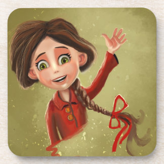 cartoon girl with a happy smile Cork Coaster