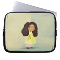 cartoon girl with the curly hair Electronics Bag