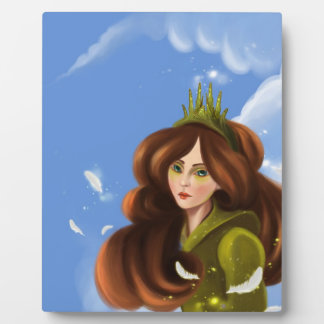 cartoon girl with the fancy green crown Plaque