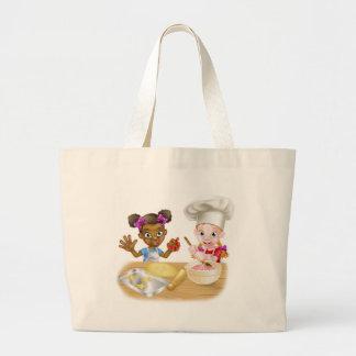 Cartoon Girls Baking Large Tote Bag