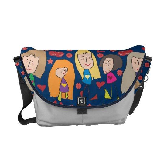 Cartoon Girls Blue Courier Bag