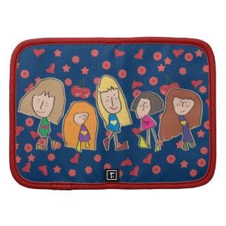 Cartoon Girls Blue Folio Planner