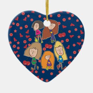 Cartoon Girls Blue Heart Ornament