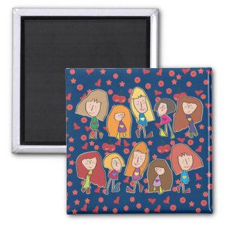Cartoon Girls Blue Magnet