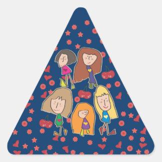 Cartoon Girls Blue Triangle Sticker
