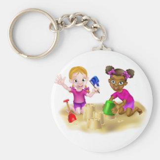 Cartoon Girls Building Sandcastles Keychain