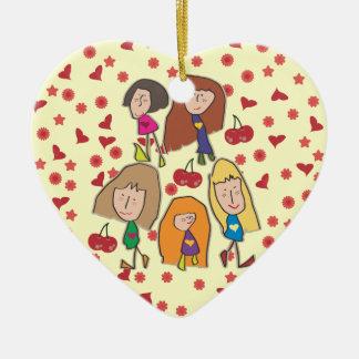 Cartoon Girls Heart Ornament