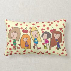 Cartoon Girls Lumbar Pillow