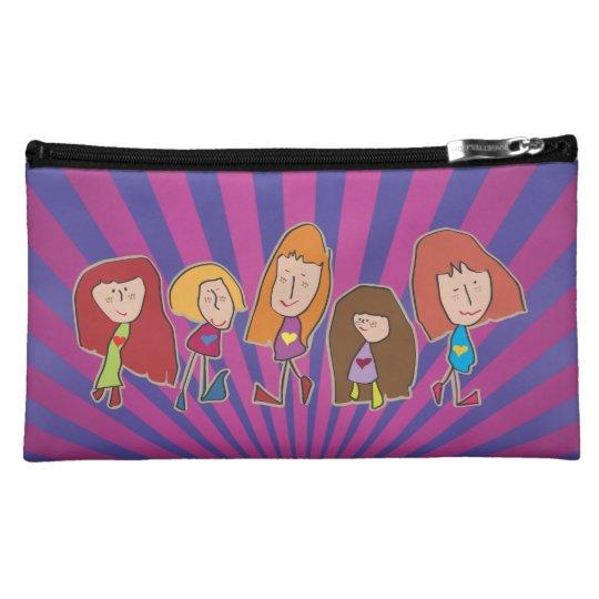 Cartoon Girls on Purply Blue Stripes Wristlet