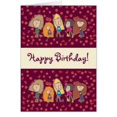 Cartoon Girls Pink Happy Birthday Card
