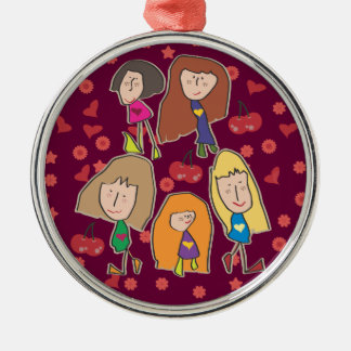 Cartoon Girls Pink Premium Round Ornament