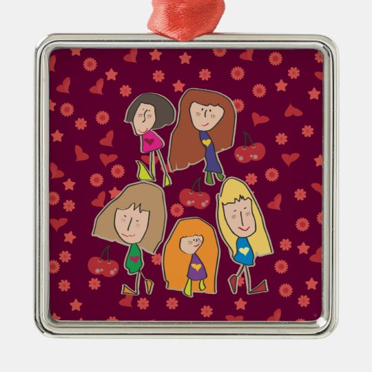 Cartoon Girls Pink Square Ornament