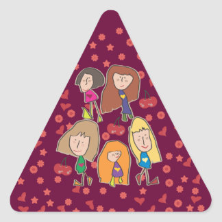 Cartoon Girls Pink Triangle Sticker