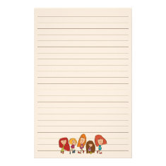 Cartoon Girls Stationery with Lines