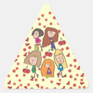 Cartoon Girls Triangle Sticker