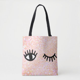 cartoon girly eyes on faux pink sparkle tote bag
