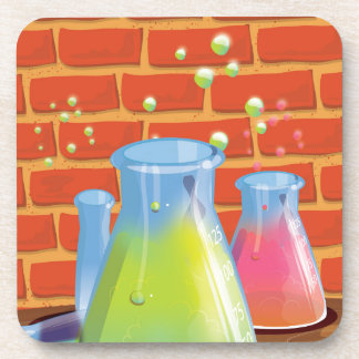 Cartoon Glass Science equipment on a bench Beverage Coaster