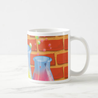 Cartoon Glass Science equipment on a bench Coffee Mug