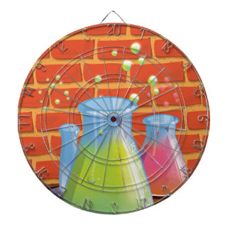 Cartoon Glass Science equipment on a bench Dartboards